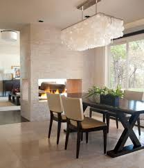 two sided gas dining room contemporary with tall window three