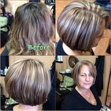 dark hair underneath light on top light blonde on dark hair highlight lowlights assymetrical bob 1