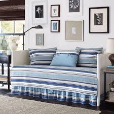 twin size blue white striped daybed quilted cover set bed skirt