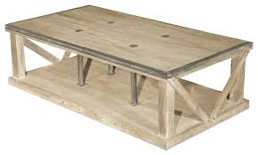 White Wash Coffee Table - forte french country white wash reclaimed pine iron coffee table