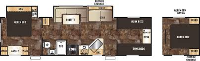 Travel Trailers With Bunk Beds Floor Plans Cherokee Grey Wolf Travel Trailers By Forest River Access Rv