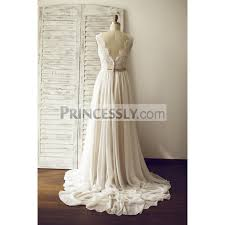 chapel wedding dresses a line ivory lace chiffon v neck wedding dress with chapel