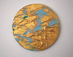 copper into gold original abstract acrylic painting table