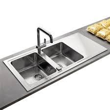 bac evier cuisine évier contemporain inox lisse 2 bacs avec égouttoir