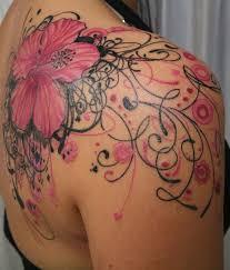 the best shoulder tattoos designs pink lily flower tattoo on right back shoulder tattoo
