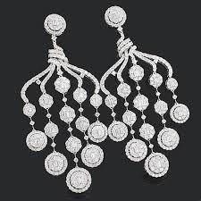 Black And Silver Chandelier Earrings Designer Diamond Chandelier Earrings 15 88ct 18k Gold Diamond
