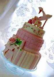 cute stork baby shower cake in 3 tiers with crib u0026 pink bow jpg hi