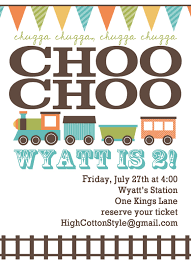high cotton style custom train birthday party invitation