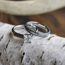 antler wedding ring deer antler bridal set with moissanite engagement ring and antler ring
