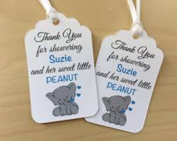 printable elephant baby shower favor tags pink and grey