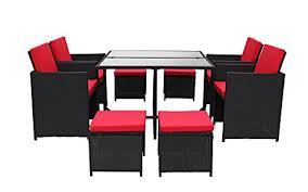 Rattan Table L Modern 8 Space Saving Outdoor Furniture Dining