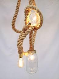 sisal three bulb rope pendant light unique s co
