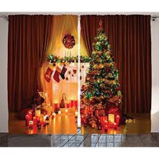Orange Curtains For Living Room Amazon Com Lighted Christmas Tree Curtain Panel Home U0026 Kitchen