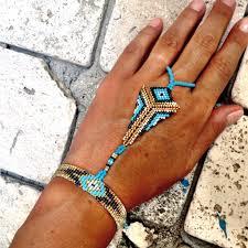 beaded ring bracelet images Beautiful peyote stitch quot slave quot bracelet wrist bracelet connected jpg