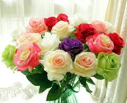 fresh flowers 24pcs lot fresh artificial flowers real silk decorative