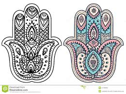 vector indian hamsa with ornaments stock vector image