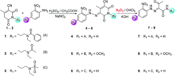 n acylamino pyridine 2 6 dione based heterocyclic dyes and their