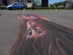 anamorphic art 3d street painting street art by chalk artist
