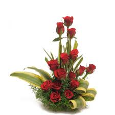 Long Stem Flowers Basket Arrangement Of 15 Long Stem Red Roses With Dracaena Leaves