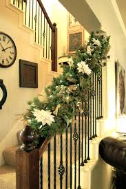 How To Decorate Banister With Garland Christmas Garland With Lights For Stairs Christmas Lights Decoration