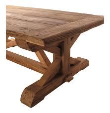 regis solid reclaimed elm wood trestle based coffee table kathy