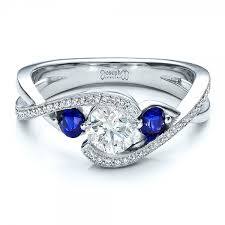 sapphire engagement rings custom blue sapphire and engagement ring 100056