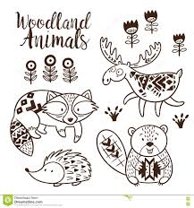Decorative Ornamental Woodland Animals Vector Set Stock Vector Woodland Animals Coloring Pages