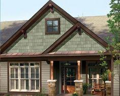 sage green siding with brown trim google search new house