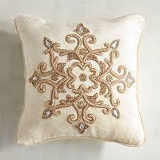 Callisto Home Pillows by Zardozi Ivory And Gold Velvet Pillow Pillows Throw Pillows And