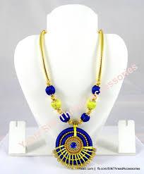 yaalz silk thread traditional necksets in dark blue with lemon yellow