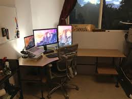 dream desk built from black iron pipe and bamboo