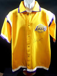 magic johnson autograph los angeles lakers warm up jersey nba