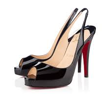 christian louboutin private number patent peep toe red sole