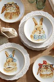 Modern Dining Plate Set Easter Bunny Faces Salad Plate Set White Salad Plates Easter