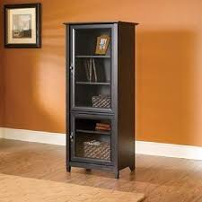 antiqued media storage bookcase tower entertainment cabinet glass