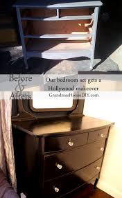 Hollywood Bedroom Set by Hollywood Dresser With Black Paint And Glass Knobs