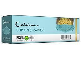 cuisiner light cuisiner free clip on strainer light blue compact