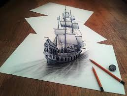 3d ship drawn on three flat sheets of paper by ramon bruin colossal