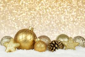 gold ornaments with twinkling background stock photo