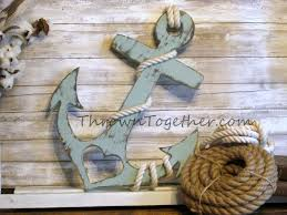 anchor with and rope nautical wood wall decor