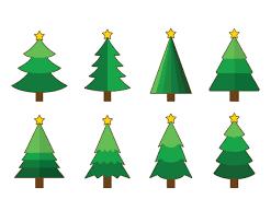 set of cartoon christmas tree vector vector art u0026 graphics