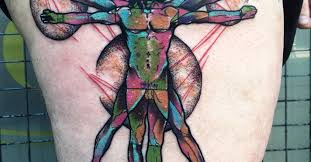 psychedelic vitruvian man tattoo on the right thigh