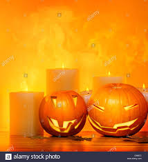 halloween pumpkins holiday border with candles and smoke stock