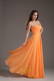 gorgeous orange sweetheart strapless ruffles long summer princess