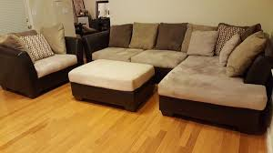 Ottoman Pillows Furniture Microfiber Set Sectional W Chaise Chair