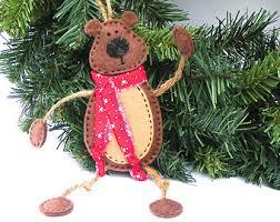square felt raccoon christmas ornament