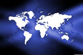 Blue World Map by World Map Free Stock Photo