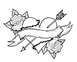 adults heart coloring pages arrow and roses heart coloring pages