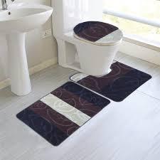 Bathroom Rugs Set 3 Piece by Haley 3 Piece Mega Size Bathroom Mat Set Leaf Design