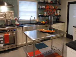 furniture stainless steel kitchen island on wheels with flowers